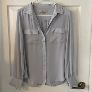 Loft collared button up utility blouse